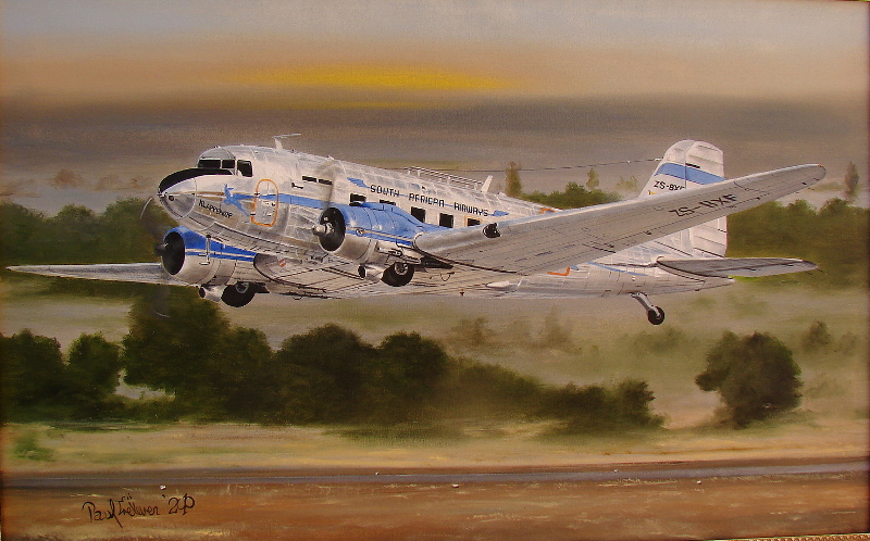 Dakota Art Paul Treleven 12107 DC-3 ZS-BXF painting