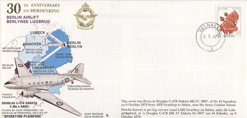 FLIGHT COVER SAAF 4 30th Anniversary BERLIN AIRLIFT Douglas C-47B Dakota Operation Plainfare 2