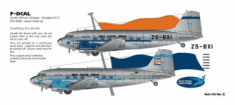 Model F-DCAL FD14546 a Decals South African Airways Douglas DC-3 144 scale