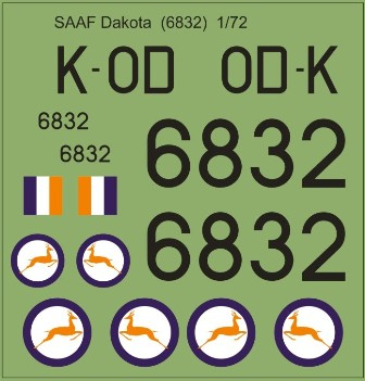 Model MAV Decals MAV-480167 SAAF 6832 48 scale