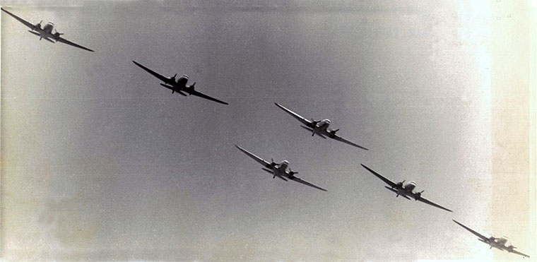 RhAF six 3 squadron Daks in formation K Milligan via ORAFs