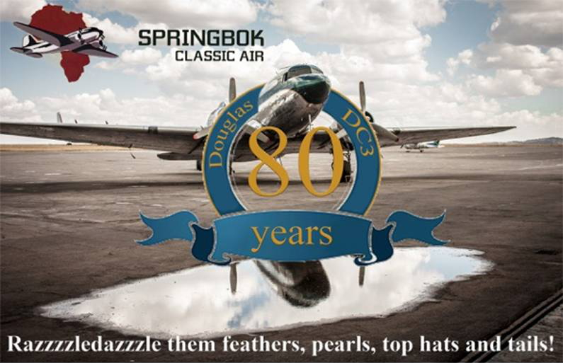 DC-3 80th Anniversary invite flyer image Springbok Classic Air